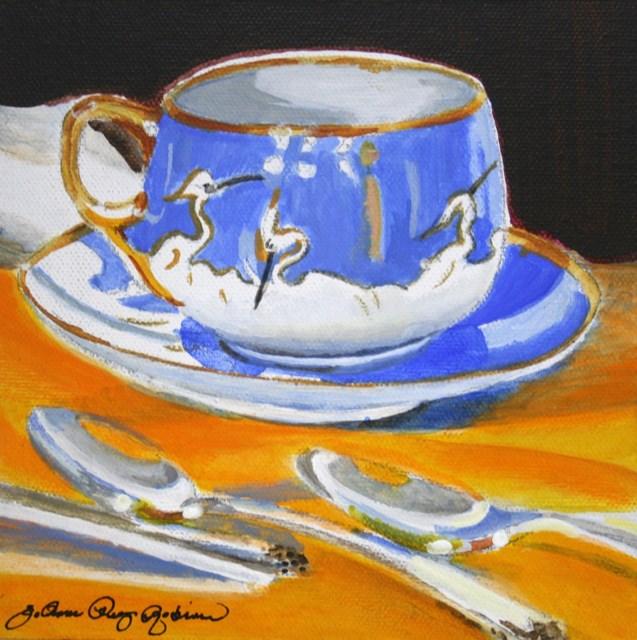 """Crane Cup"" original fine art by JoAnne Perez Robinson"