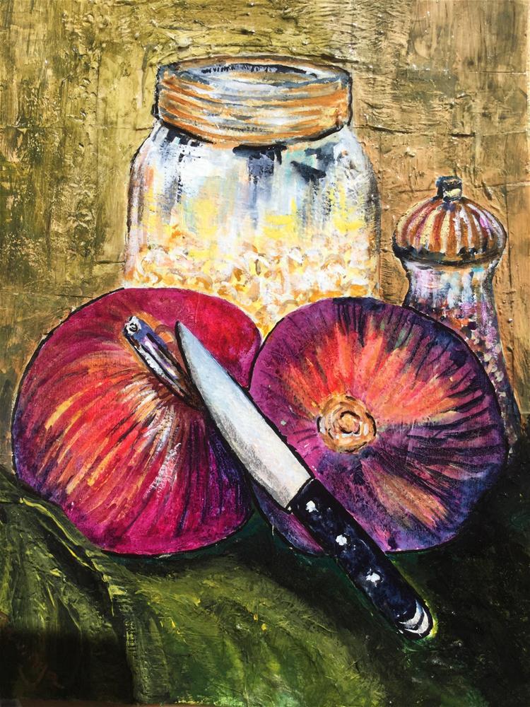 """Red Onions"" original fine art by Carla Lizarraga"