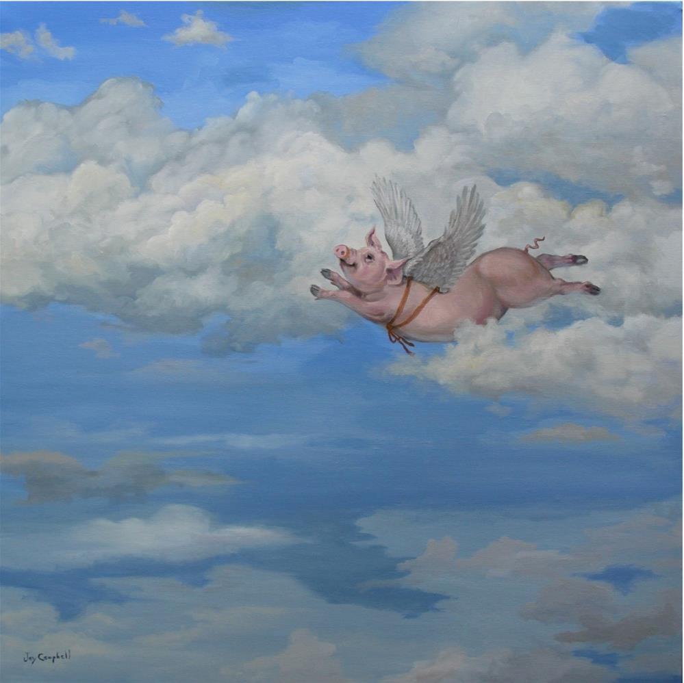 """""""When Pig Flies"""" original fine art by Joy Campbell"""
