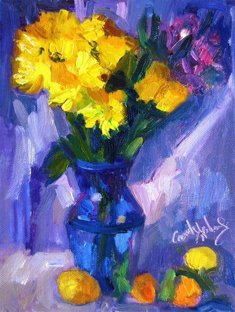 """Yellow Bouquet, Periwinkle Silk"" original fine art by Carol Steinberg"