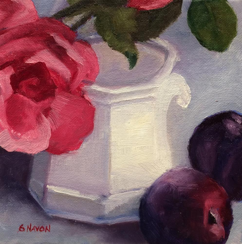 """Still Life with White Cup,Rose, and Plums"" original fine art by Stephanie Navon Jacobson"