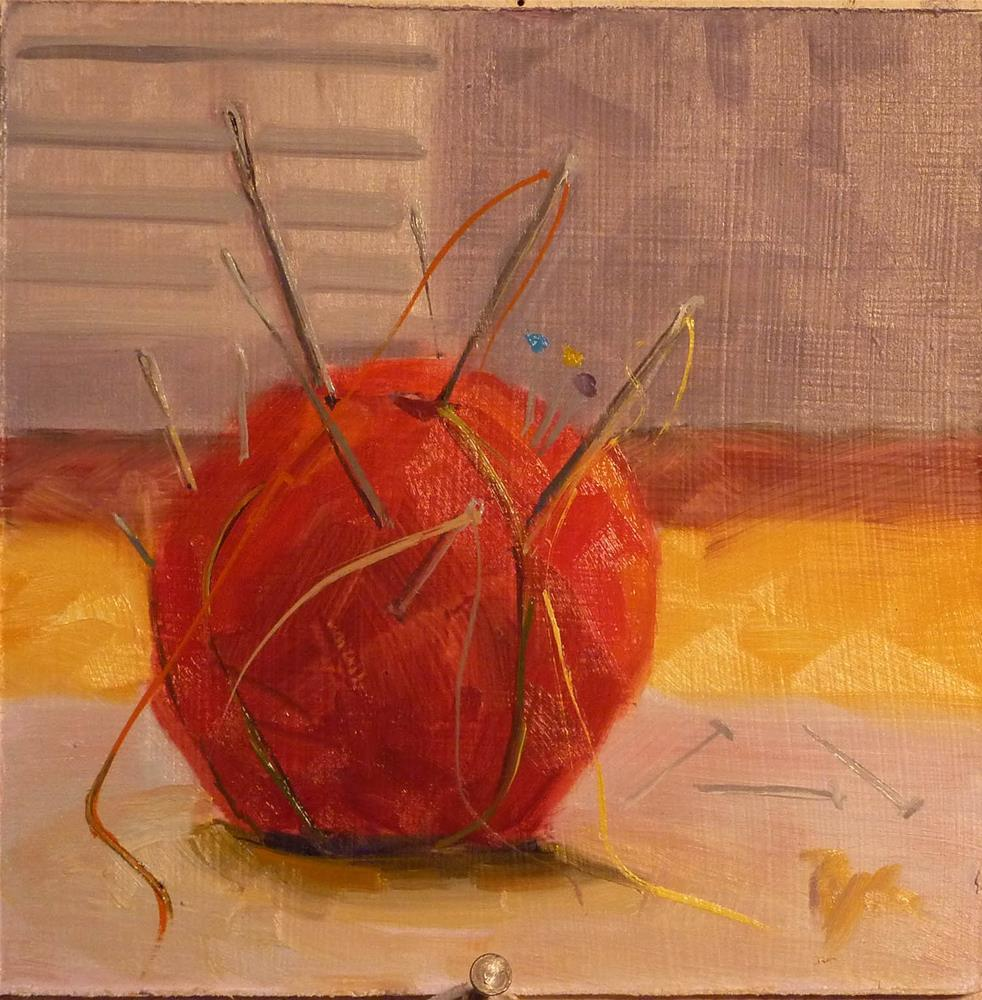 """Red Apple Pincushion"" original fine art by Mary Pyche"