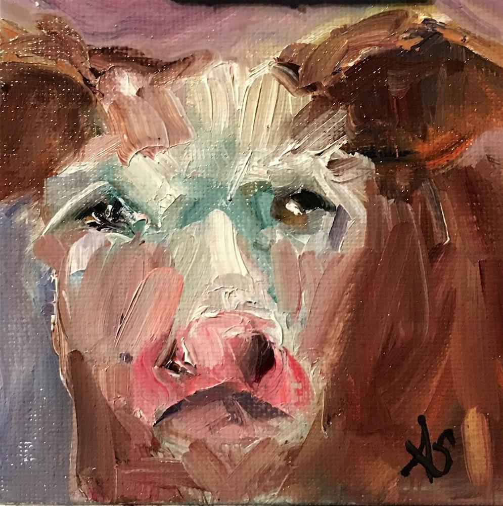 """""""Susie Q cow painting by Alabama Artist Angela Sullivan"""" original fine art by Angela Sullivan"""