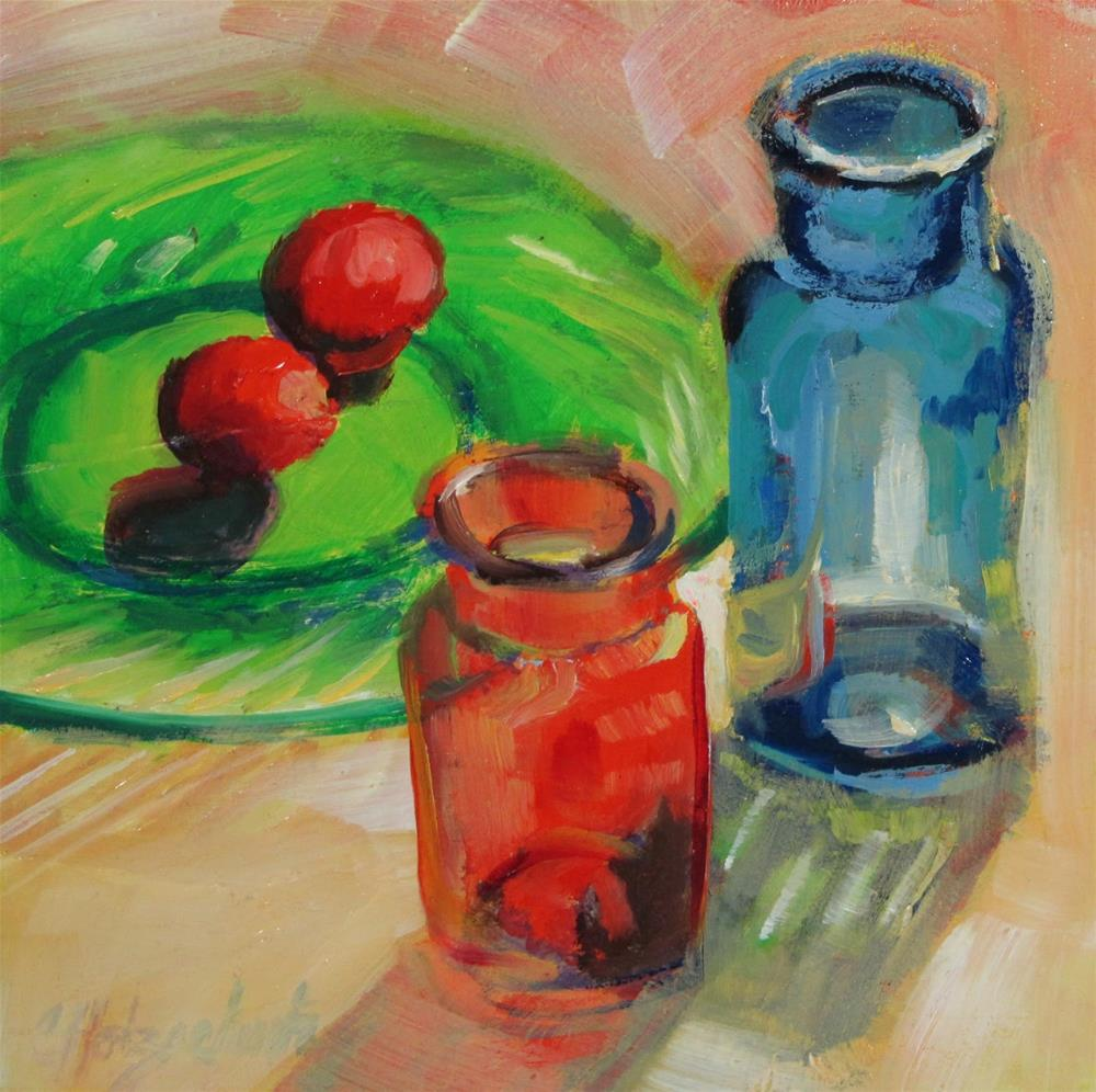 """Bottles and Balls"" original fine art by Christine Holzschuh"