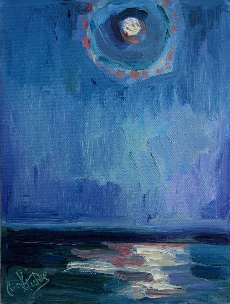 """Full Moon Over Ocean"" original fine art by Carol Steinberg"