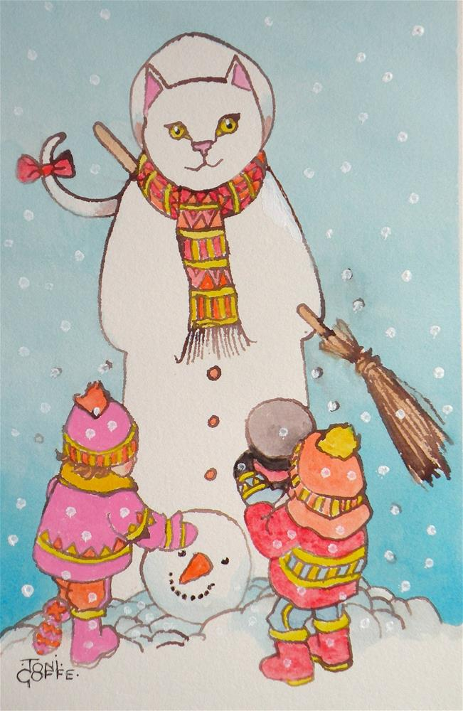 """Pigtailed Snowman"" original fine art by Toni Goffe"