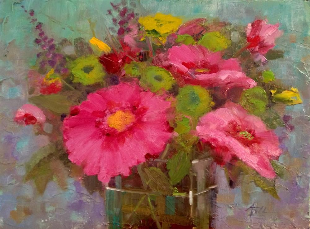 """Floral Fantasy in Pink and Green, 16x12"" original fine art by Ann Feldman"