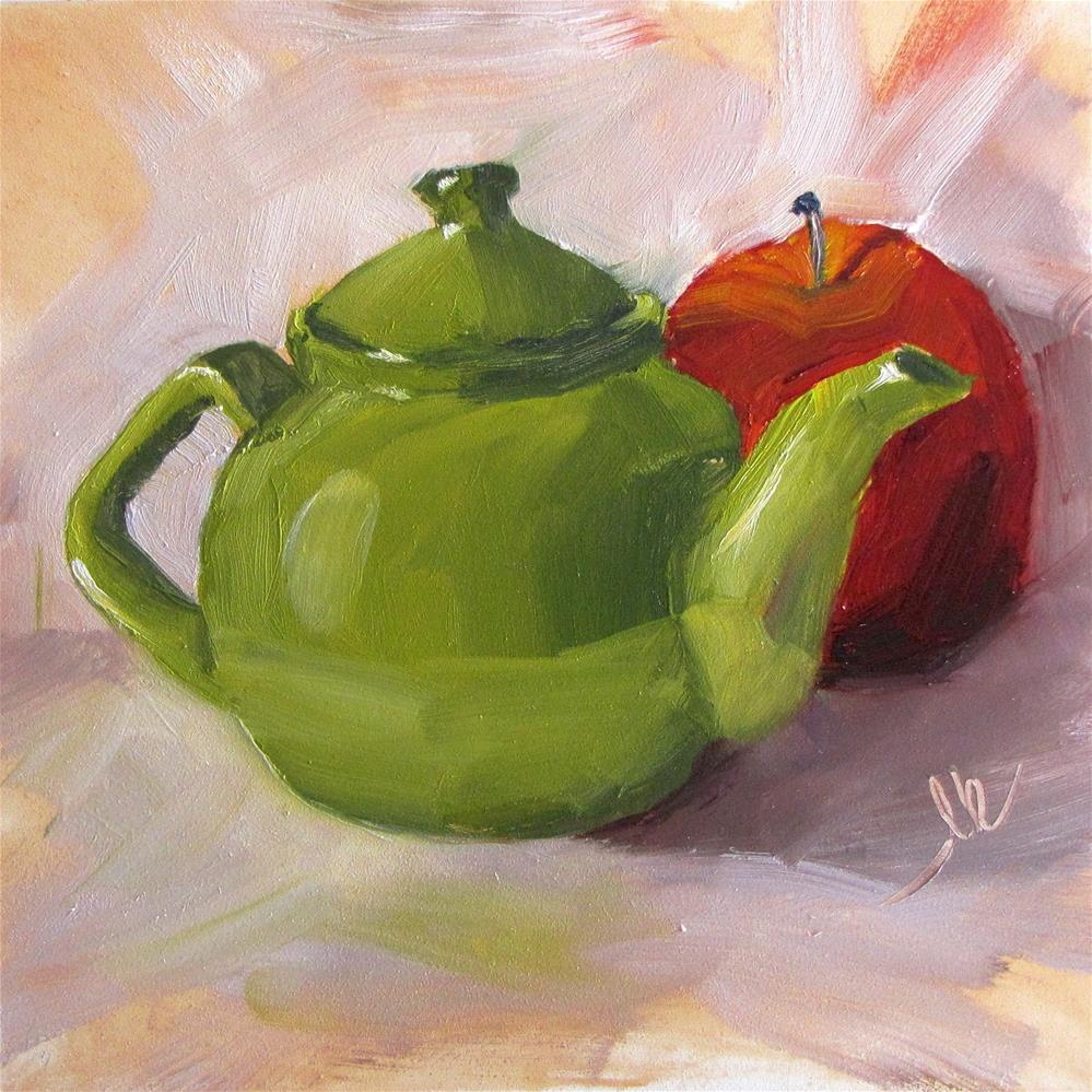 """Green Tea Pot"" original fine art by Louise Kubista"