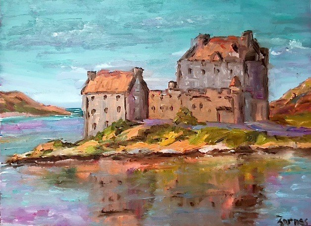 """Eileen Dornan Castle, Scotland"" original fine art by Liz Zornes"