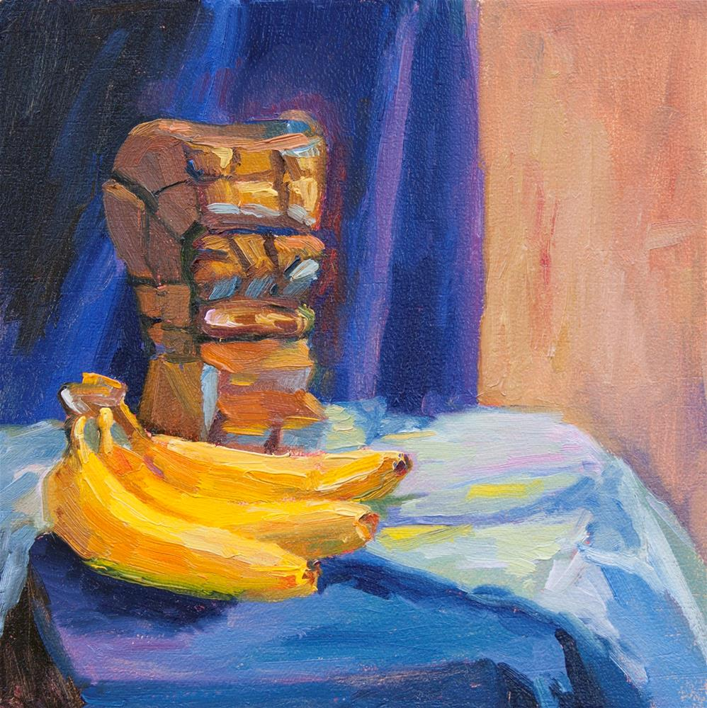 """BANANAS AT THE FOOT OF TIKI"" original fine art by Karen E Lewis"