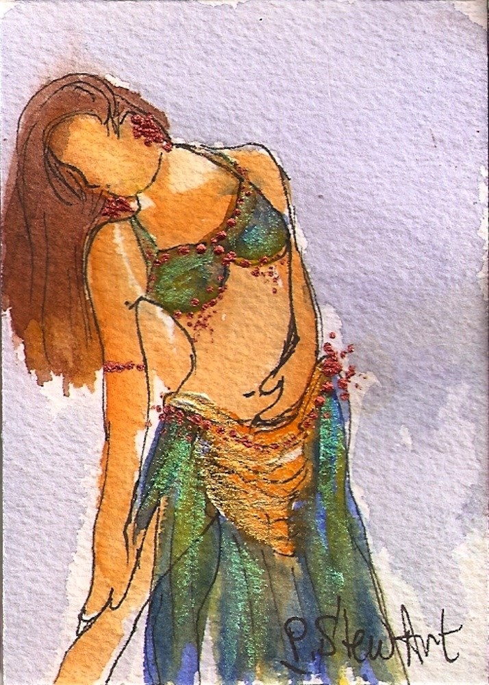 """""""ACEO Belly Dancer #7 Series - Watercolor and Pen, w/Metallic Accents, original"""" original fine art by Penny Lee StewArt"""