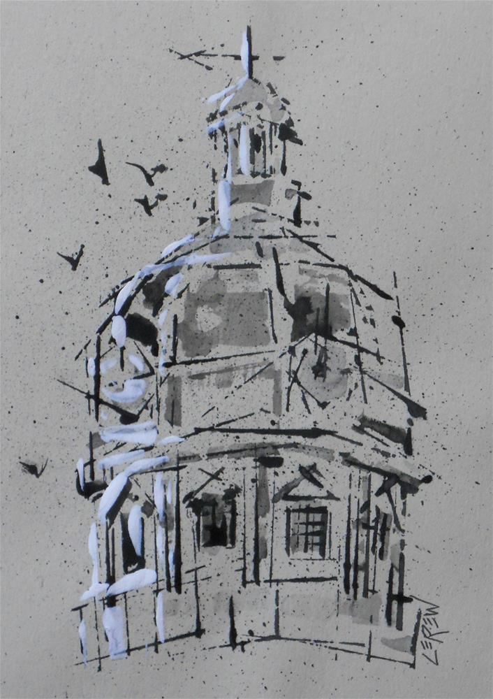 """Old York County Pennsylvania Courthouse Dome #13-05-12"" original fine art by Larry Lerew"