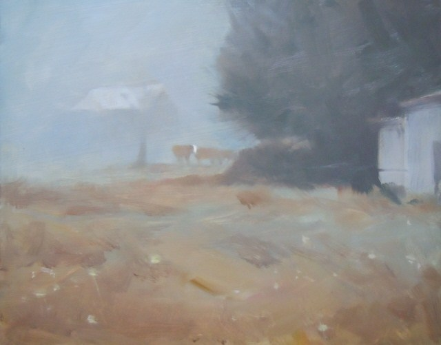 """White Face  cow, landscape painting by Robin Weiss"" original fine art by Robin Weiss"