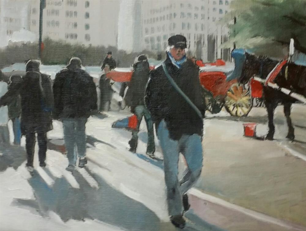 """A Walk Around Central Park (12 x 16 Oil on canvas paper - no frame)"" original fine art by Ramon DelRosario"