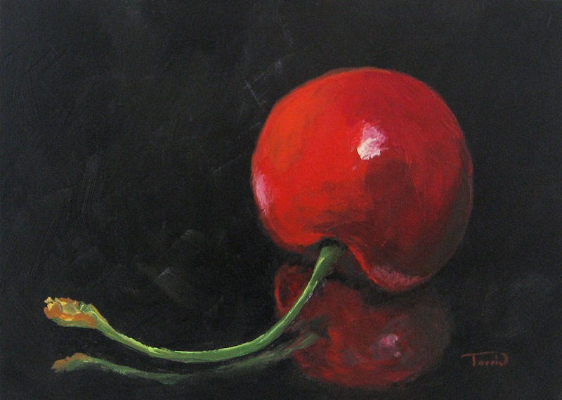 """Cherry on Black"" original fine art by Torrie Smiley"