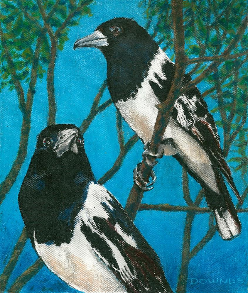 """338 AUSTRALIAN BUTCHERBIRD "" original fine art by Trevor Downes"