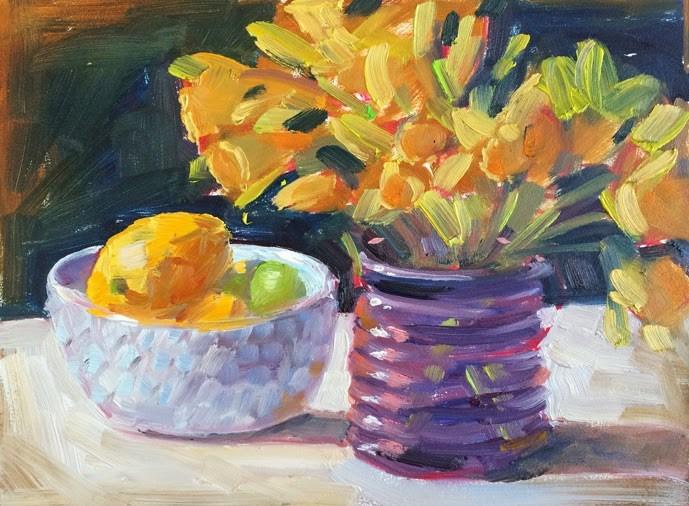 """""""Spring is here?"""" original fine art by Deborah Newman"""