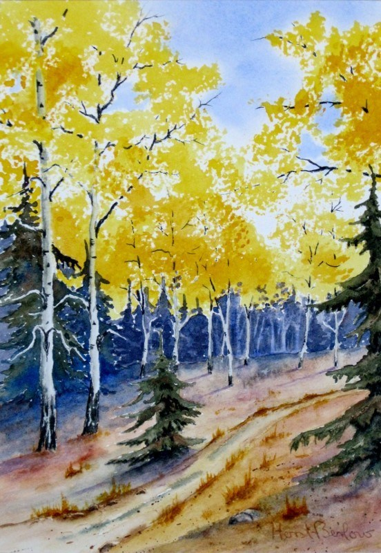 """Aspen along the trail"" original fine art by Horst Berlow"