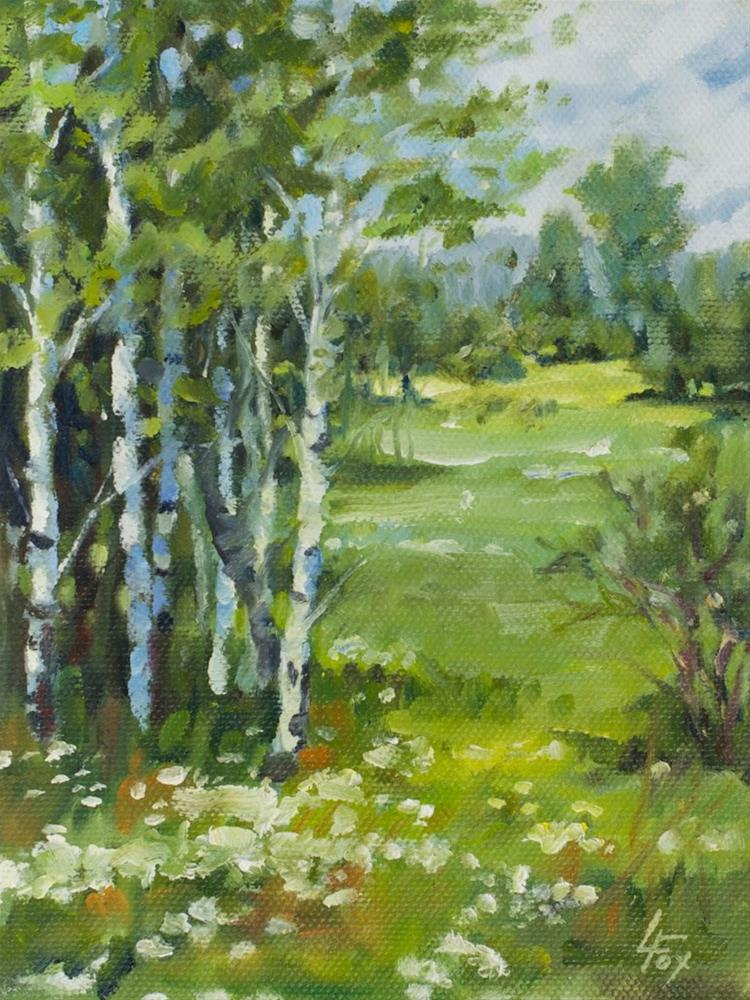 """Aspen and Daisies"" original fine art by Leona Fox"