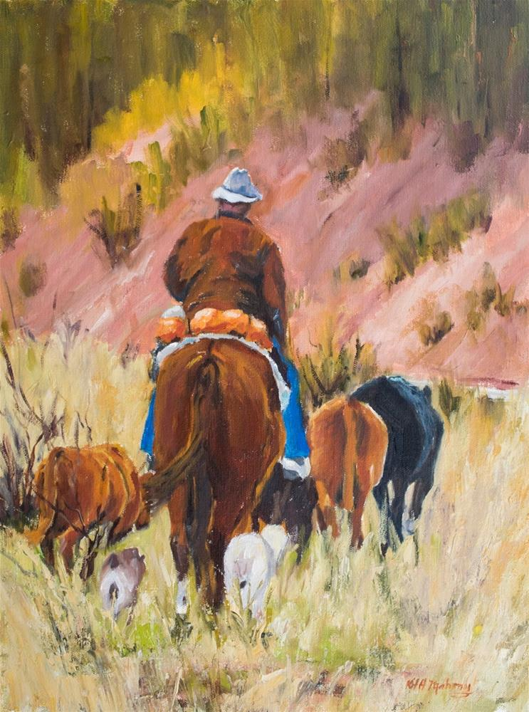 """KM3043 Rounding Them Up by Colorado artist Kit Hevron Mahoney (24x18 oil, western, landscape, horses"" original fine art by Kit Hevron Mahoney"