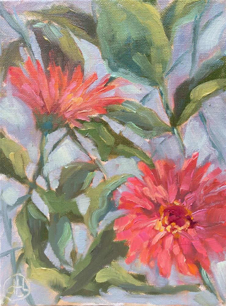 """zinnias"" original fine art by Dottie  T  Leatherwood"