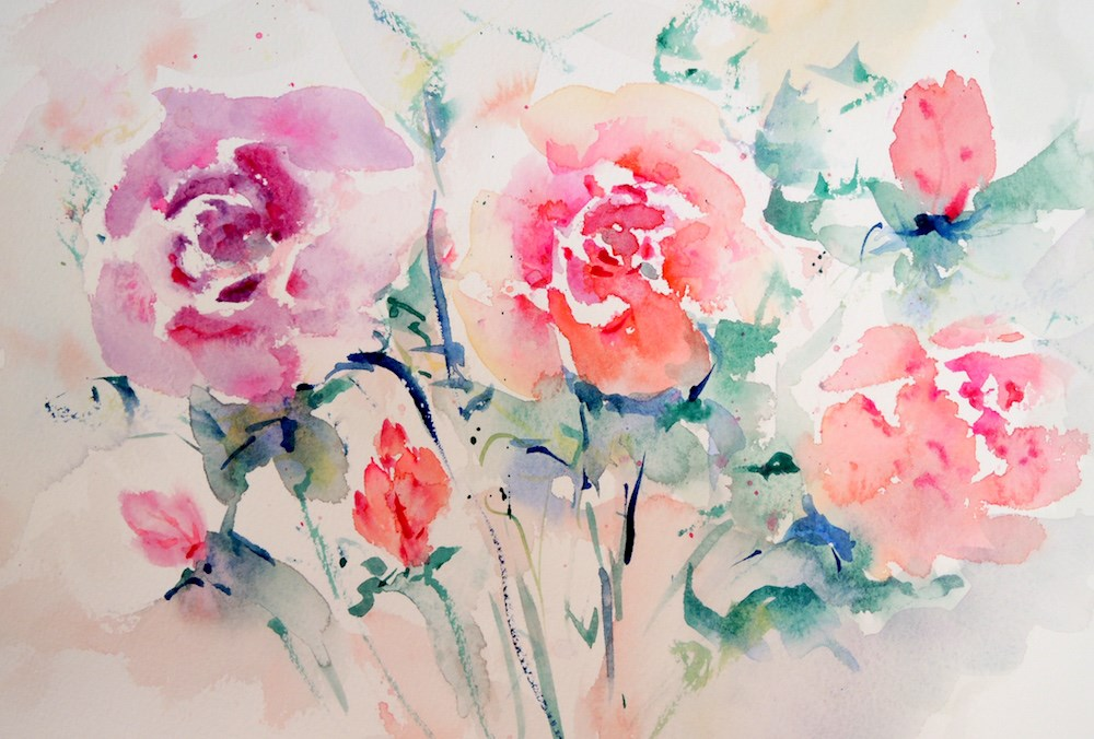 """A Wash of Roses"" original fine art by Mary Schiros"