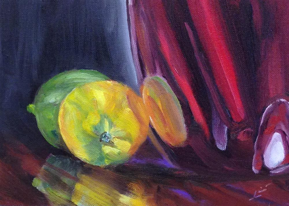 """Red Vase with Lemon and Lime"" original fine art by Linda Lowery"