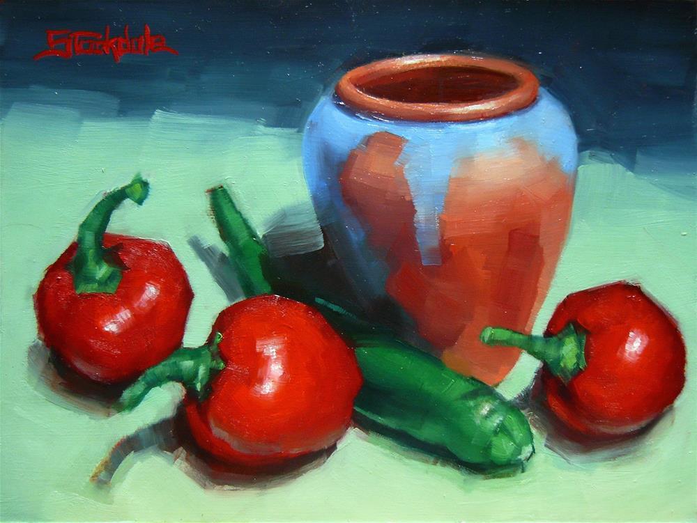 """Chillis And Pot"" original fine art by Margaret Stockdale"