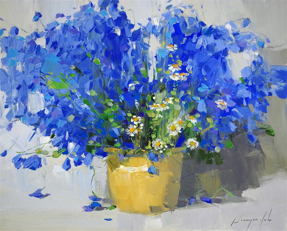 """Blue Flowers, Original oil Painting, Handmade art, One of a kind"" original fine art by V Yeremyan"