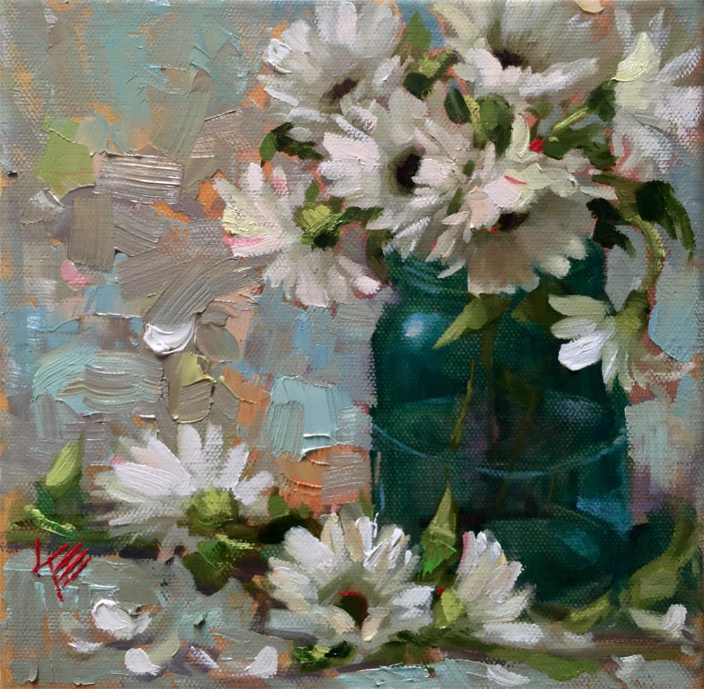 """Daisies 8x8"" original fine art by Krista Eaton"