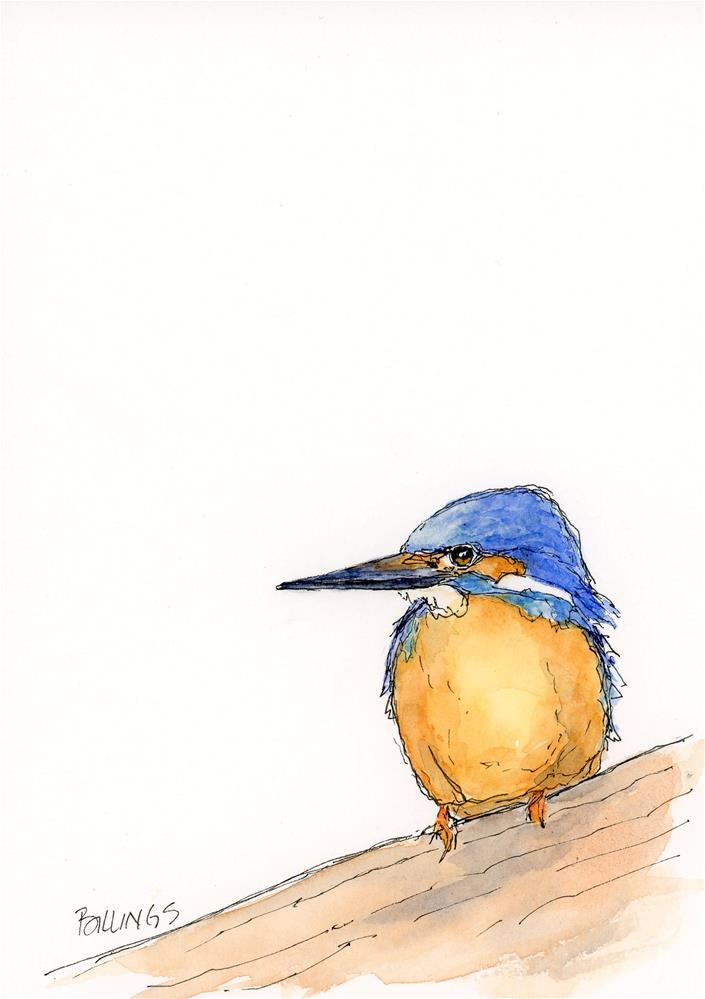 """Kingfisher on the Fence"" original fine art by Susanne Billings"