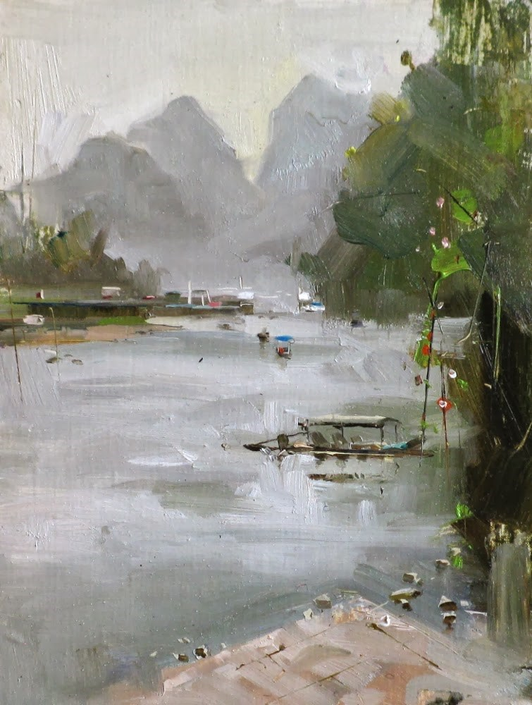 """Li River"" original fine art by Qiang Huang"