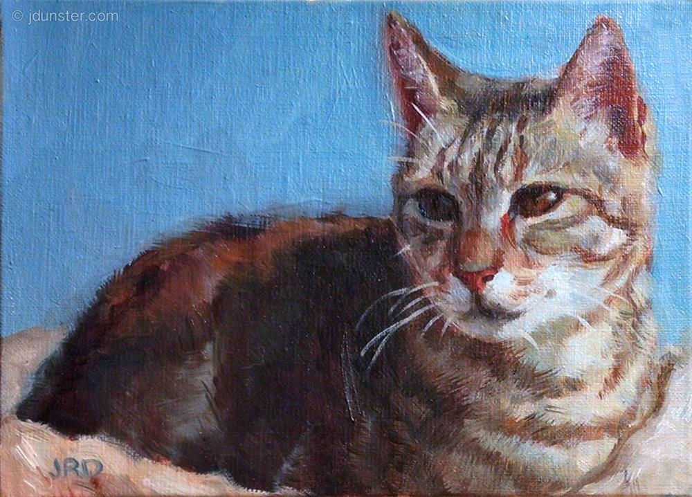 """Comfy Tabby"" original fine art by J. Dunster"
