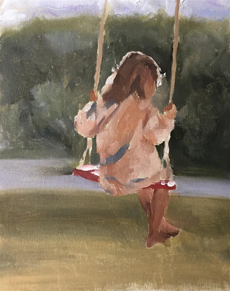 """Girl on Swing"" original fine art by James Coates"
