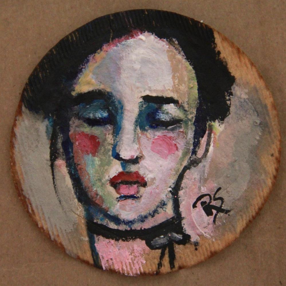 """Tea Bag Portrait - Cora"" original fine art by Roberta Schmidt"