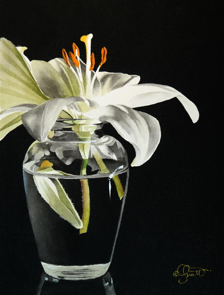 """White Lily in Vase"" original fine art by Jacqueline Gnott, whs"