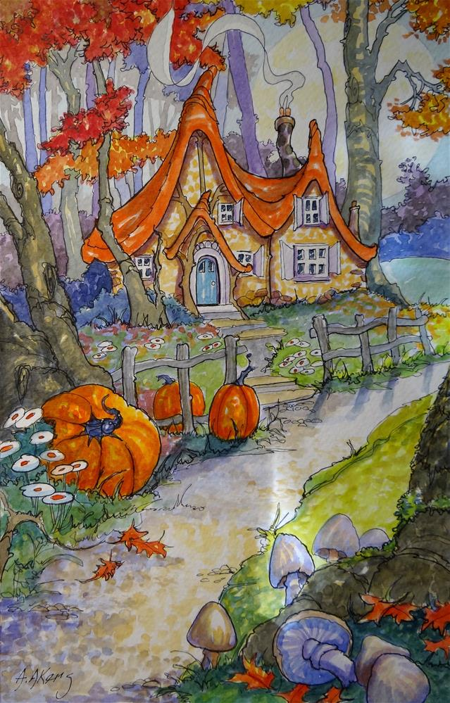 """""""Ready for the Chill Storybook Cottage Series"""" original fine art by Alida Akers"""
