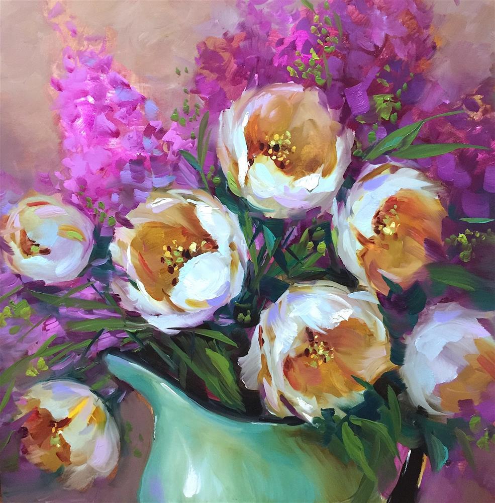 """Light Seeker White Tulips"" original fine art by Nancy Medina"