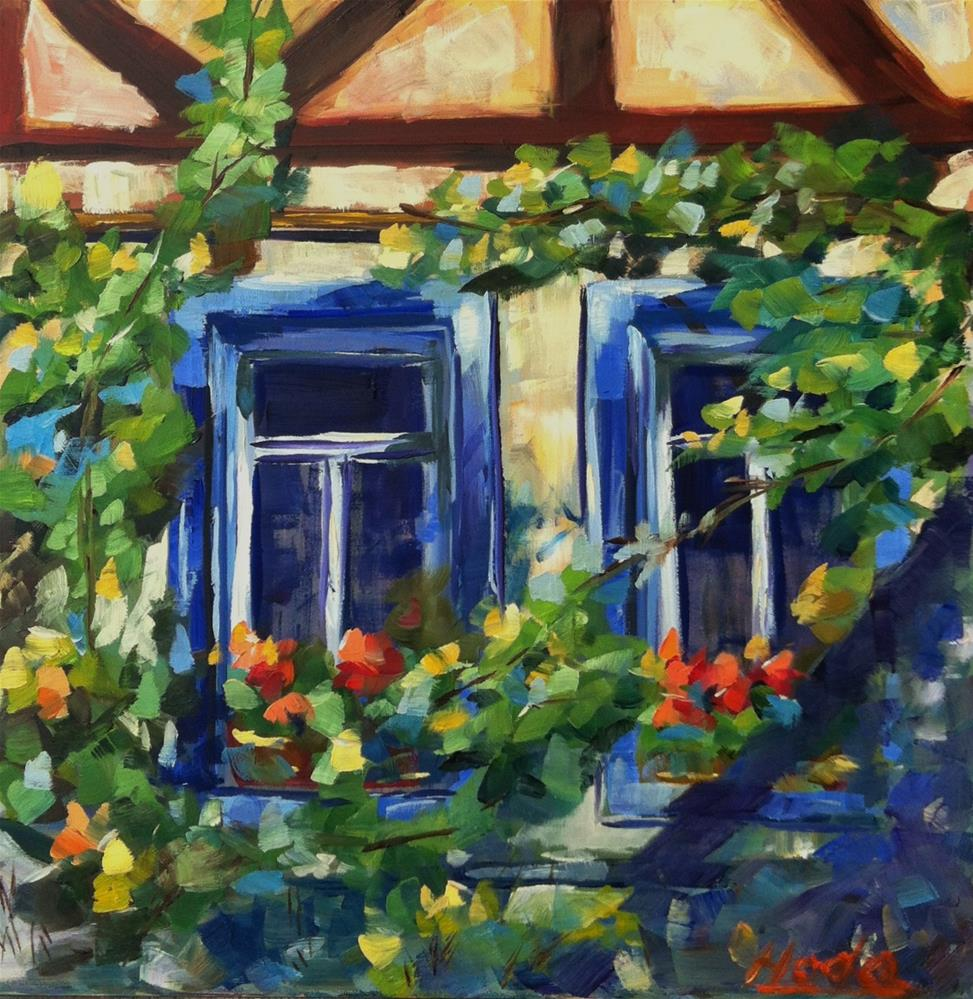 """Blue Windows"" original fine art by Hoda Nicholas"