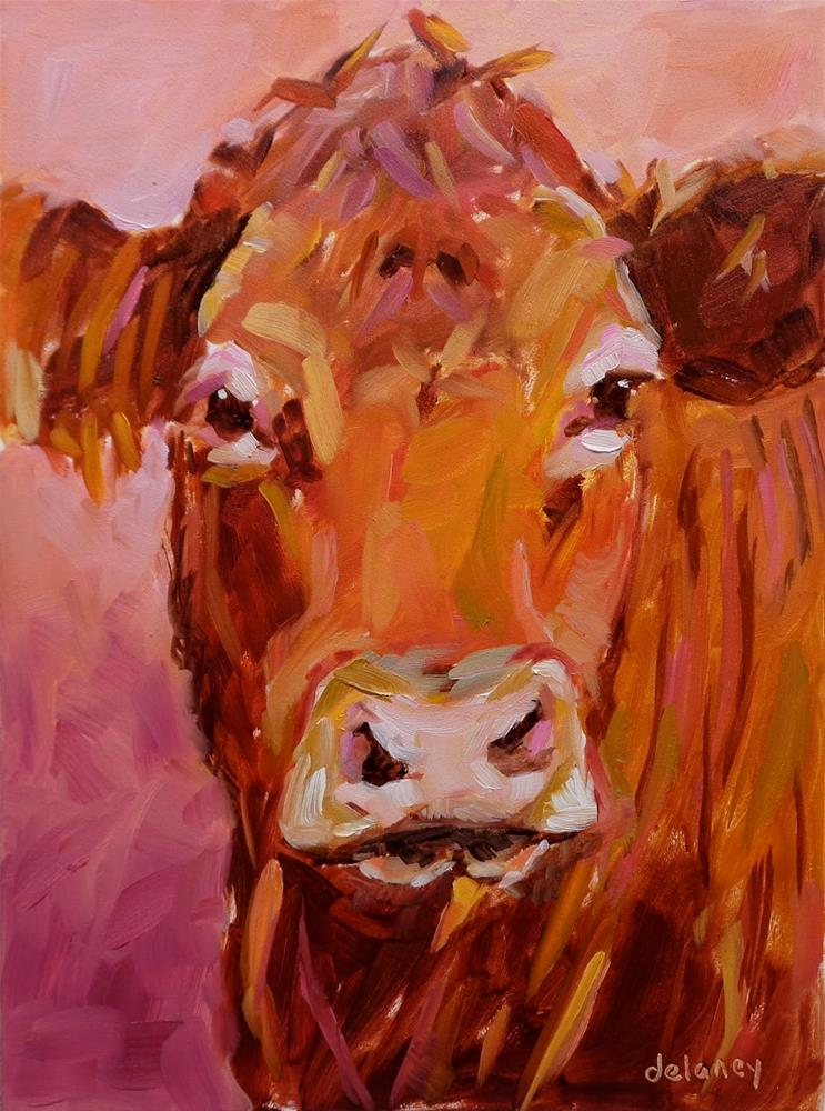 """Cow 127 DAME EDNA"" original fine art by Jean Delaney"