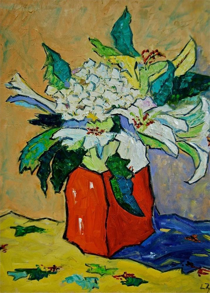 """Abstract Hydrangea and Lilies"" original fine art by Liz Zornes"