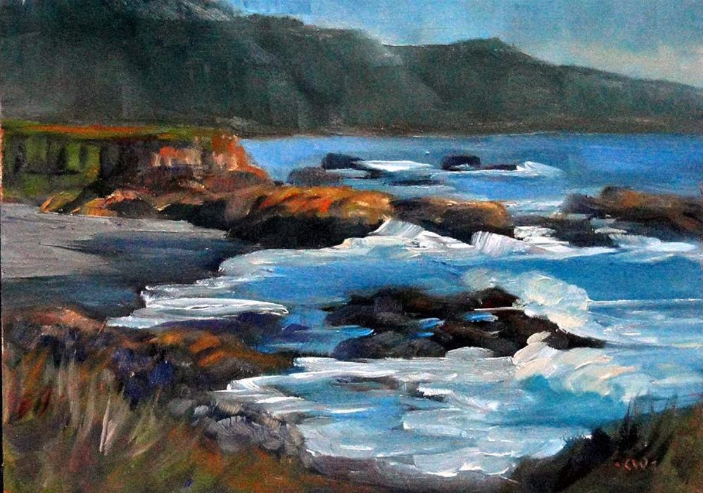 """Shelter Cove Cliffs, Afternoon"" original fine art by Cietha Wilson"