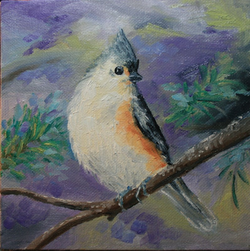 """Titmouse in Fir Tree"" original fine art by Jean Nelson"