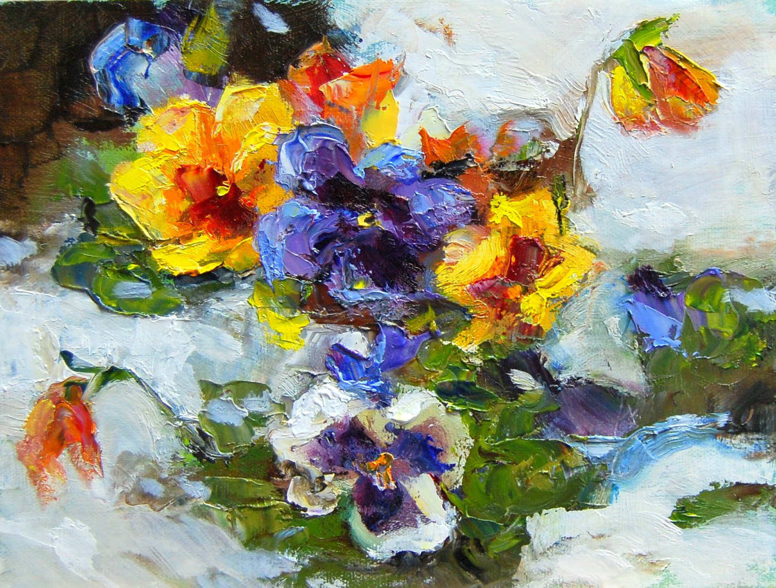 Pansies in the Snow original fine art by Julie Ford Oliver