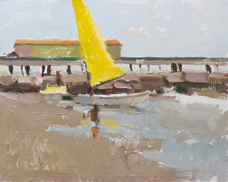 """Catamarran on the Beach"" original fine art by Randall Cogburn"