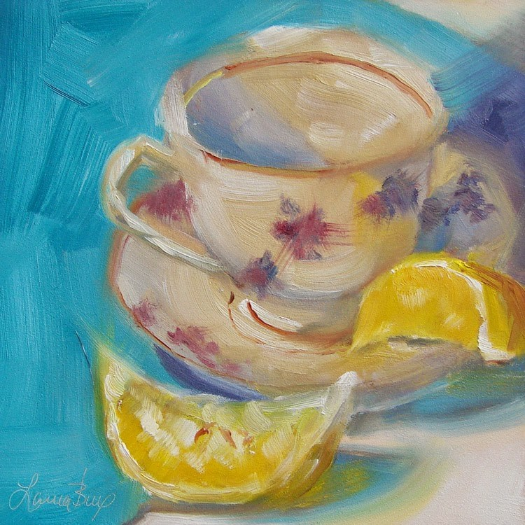 """Lemon with My Tea - 337"" original fine art by Laura  Buxo"