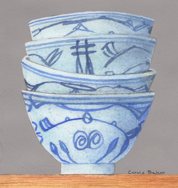 """Chinese Cups"" original fine art by Carole Baker"