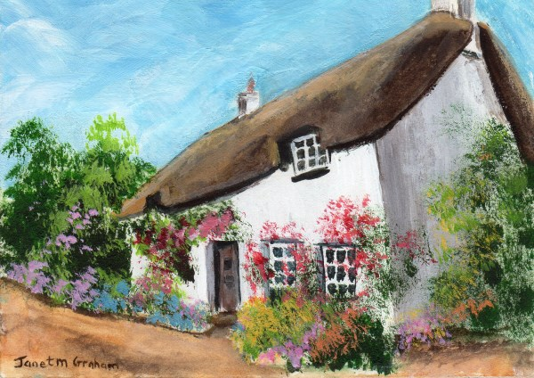 """Thatched Cottage ACEO"" original fine art by Janet Graham"