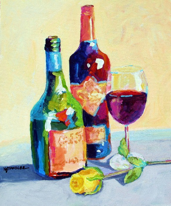 """Wine Bottles, Yellow Rose 12057"" original fine art by Nancy Standlee"
