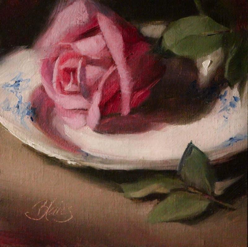 """Antique Rose and China"" original fine art by Pamela Blaies"